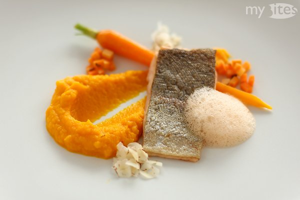 Orange Main Course: Carrot puree, sautéd young carrot, marinated carrot cubes, ginger-lime-carrot foam, hazelnut and ruby red rainbow trout