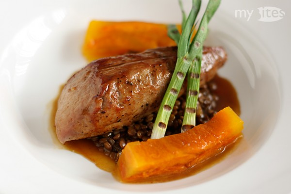 Pork Fillet with Lentils, Apricot-Bell-Pepper Terrine and Grilled Scallions