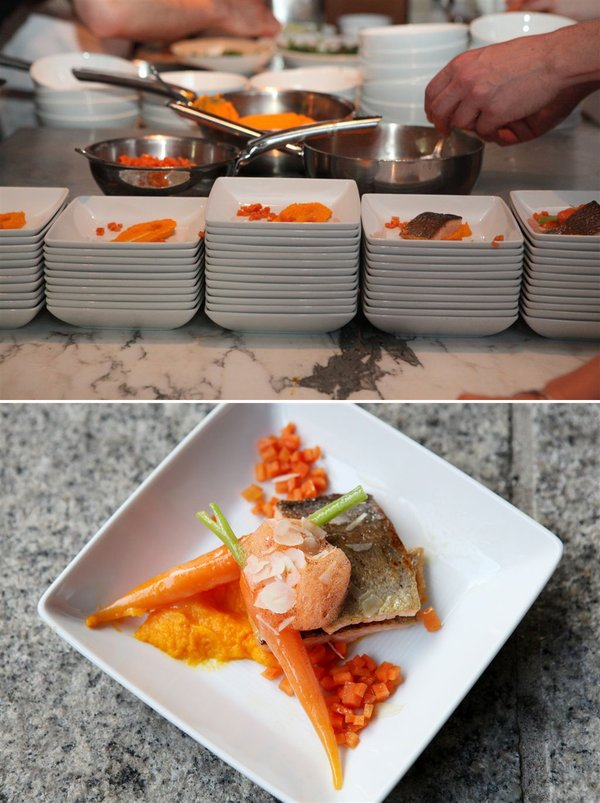 My orange main course: rainbow trout with carrot puree, sautéd orange carrots, maple-soy-cumin and rice vinegar marinated carrot cubes and ginger carrot foam (© ZEIT-Verlag / Sina Preikschat)