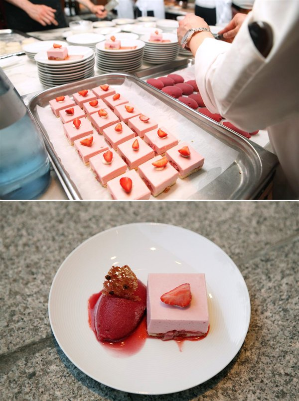 My pink dessert: Cake with Goji-berry sponge base, diced and orange liqueur scented strawberries, strawberry-yoghurt mousse and a quarter of strawberry, strawberry-rosewater coulis, sorbert made of strawberry and rosé wine, pink pepper tuile (© ZEIT-Verlag / Sina Preikschat)