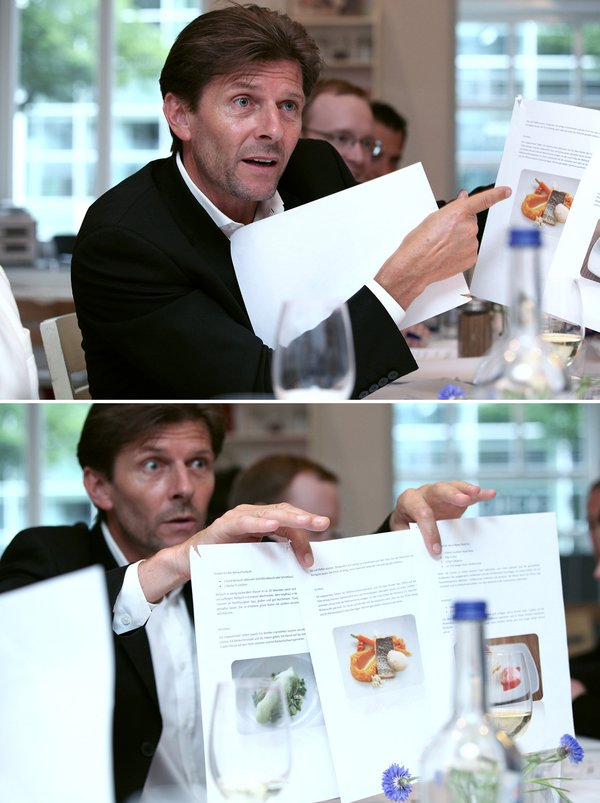 Josef Eder, executive chef of Grand Hyatt Berlin holding my submission pretty convinced (© ZEIT-Verlag / Sina Preikschat)