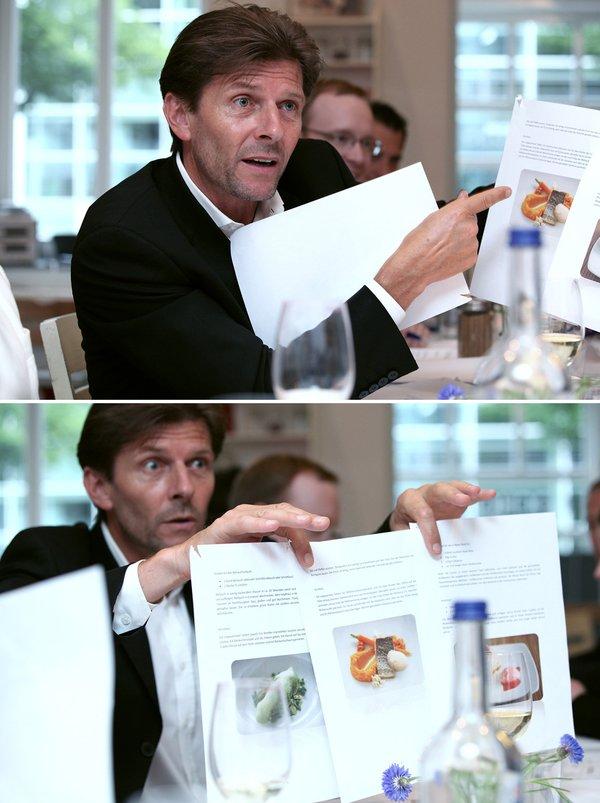 Josef Eder, executive chef of Grand Hyatt Berlin holding my submission pretty convinced (© ZEIT-Verlag / Sina Preikschat)
