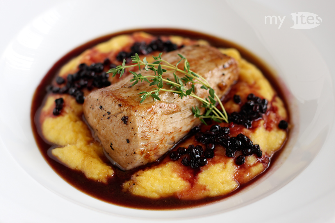 Pork Fillet with Elderberry Sauce and Peach Polenta