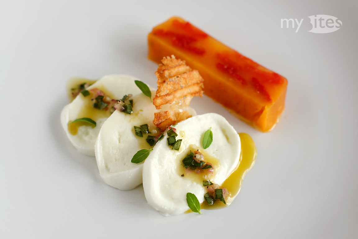 Twisted Caprése: Mozzarella with Basil-Vinaigrette and Tomato Terrine
