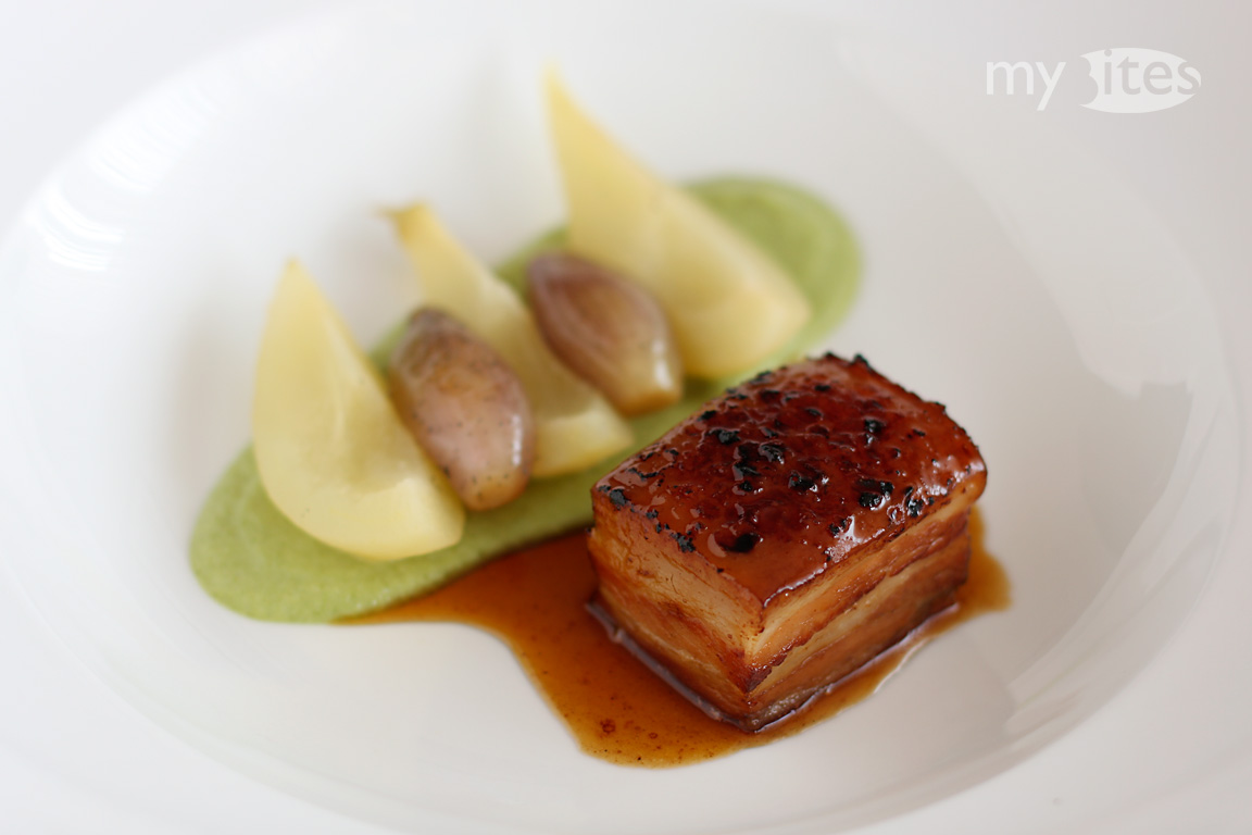 Pork Belly Glazed with Pine Tree Honey, Green Bean Puree, Vanilla Shallots and White Wine Pears