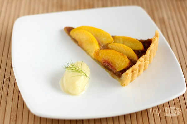 Almond Toffee and Peach Tart with Fennel Sorbet