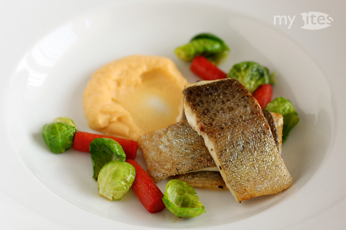Trout with Rutabaga Puree, Red Carrots and Brussels Sprouts