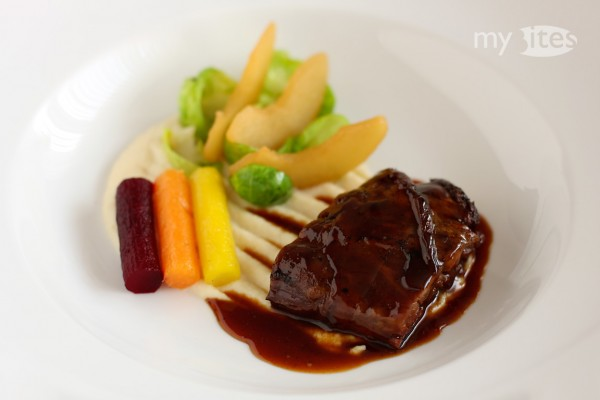 Braised Lamb Ham Hock with Quince Sauce and Autumn Vegetables