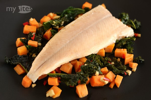 Char with Asian Style Kale and Sweet Potato