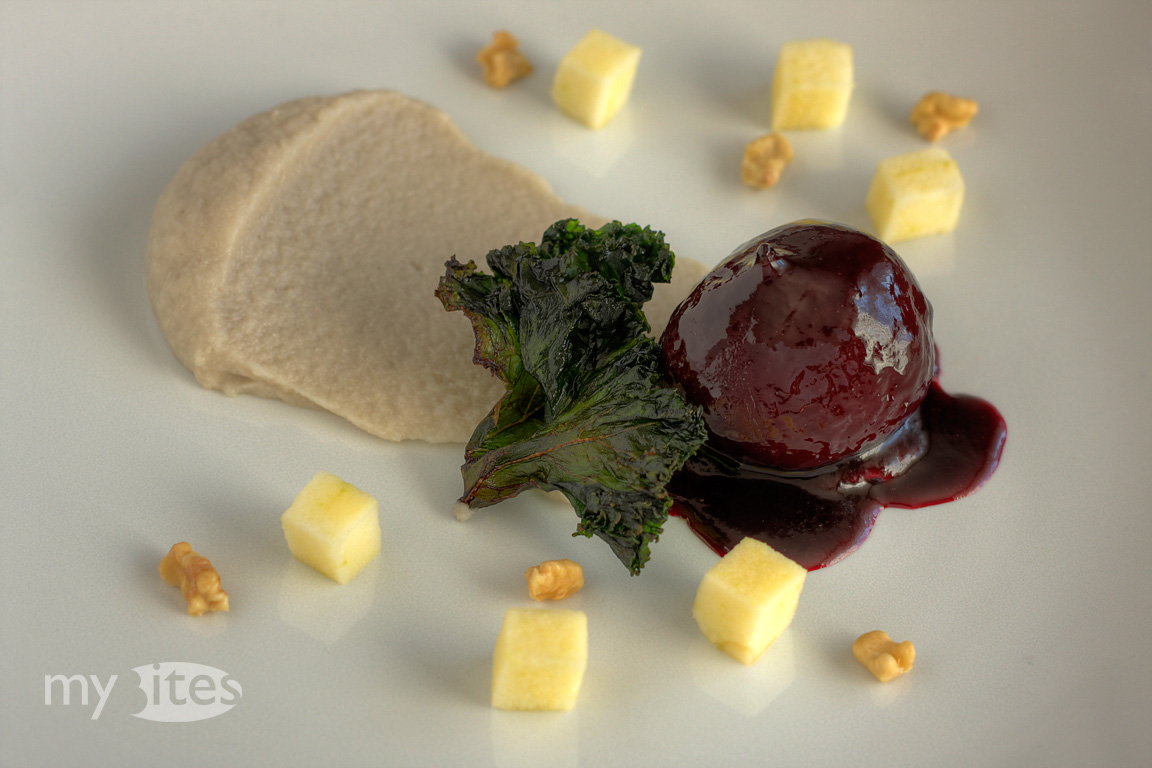 Beets with Cashew and Salsify Puree, Apple, Walnut and Kale Chips