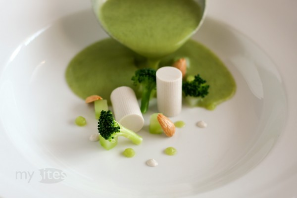 Broccoli Soup with Almond Milk Panna Cotta and Roasted Almonds