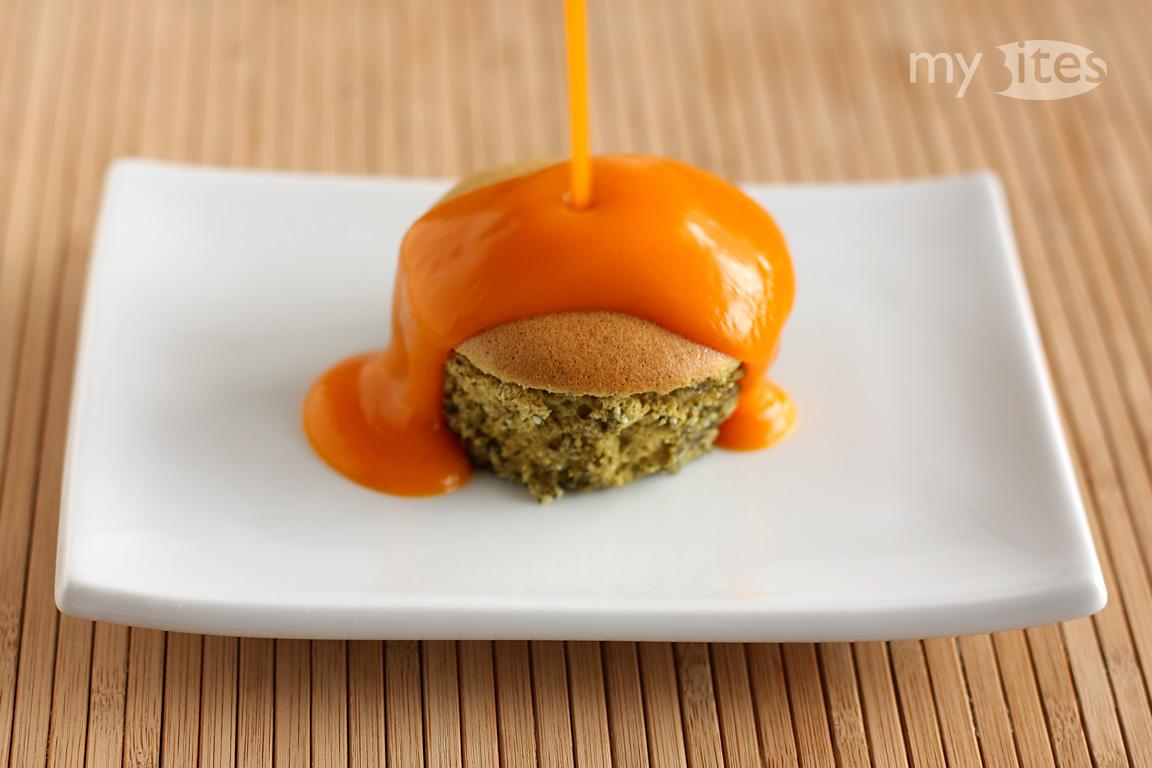 Pumpkin Seed Soufflé with Butternut Squash Sauce