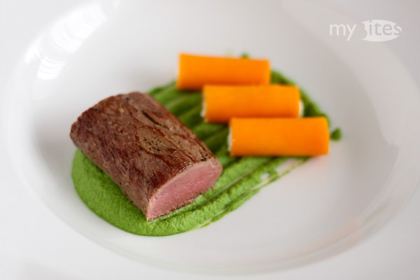Venison Sirloin with Macadamia-Kale Puree and Butternut Squash-Goat Cheese Cannelloni