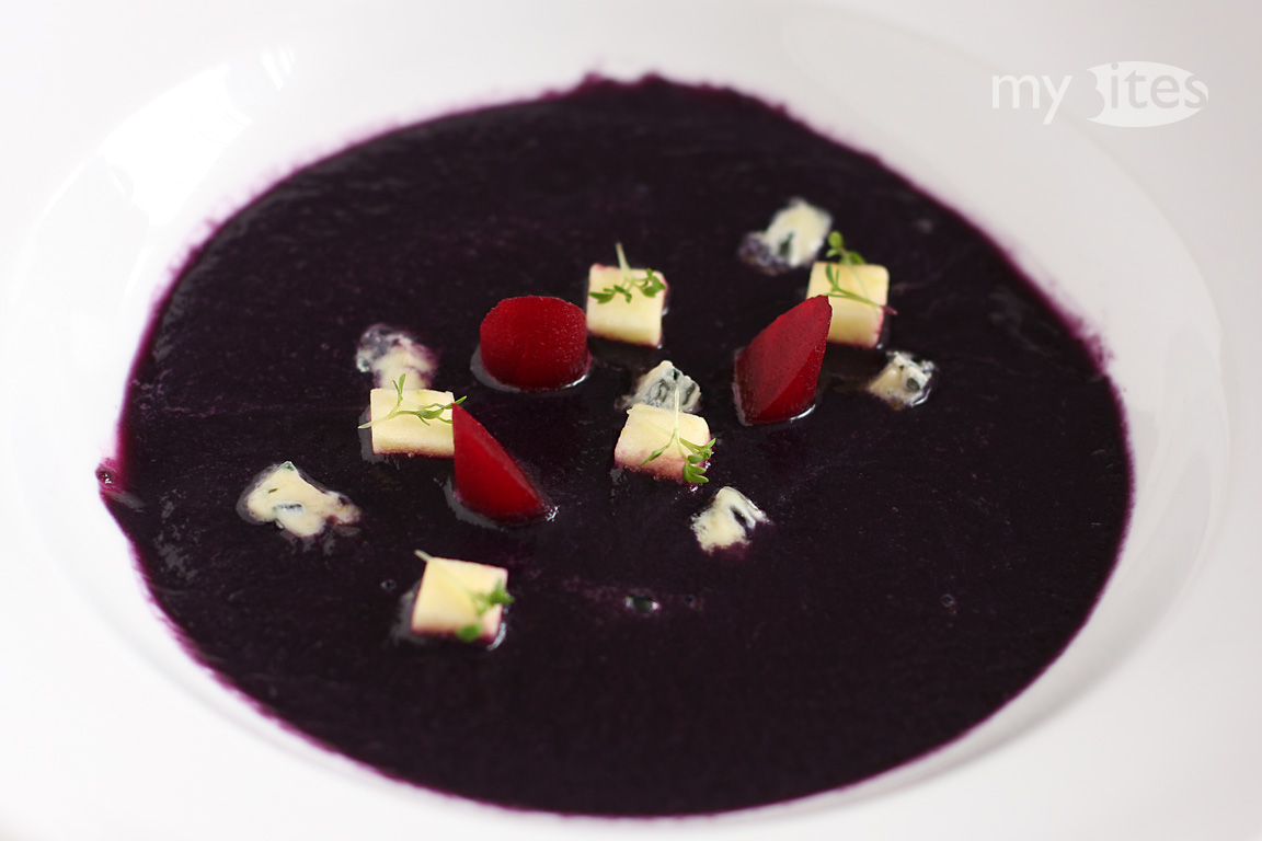 Red Cabbage Cream Soup with Apple, Beets and Blue Cheese