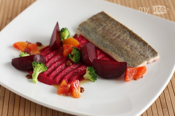 Trout with Beets, Broccoli and Blood Orange