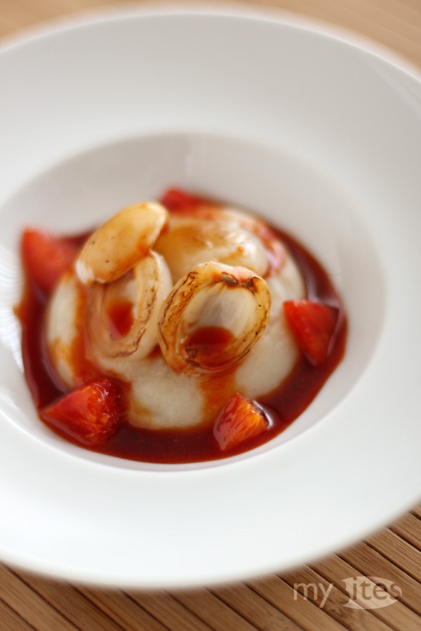 Roasted Litchi with Salsify Puree and Blood Orange Sauce