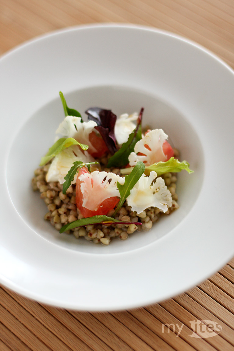 Buckwheat with Mozzarella, Grapefruit and Raw Cauliflower
