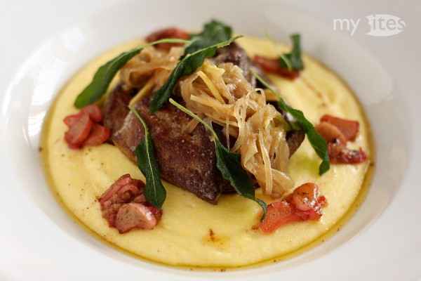 Calf's Liver with Ginger-Onion Marmalade, Rhubarb, Crispy Sage and Polenta