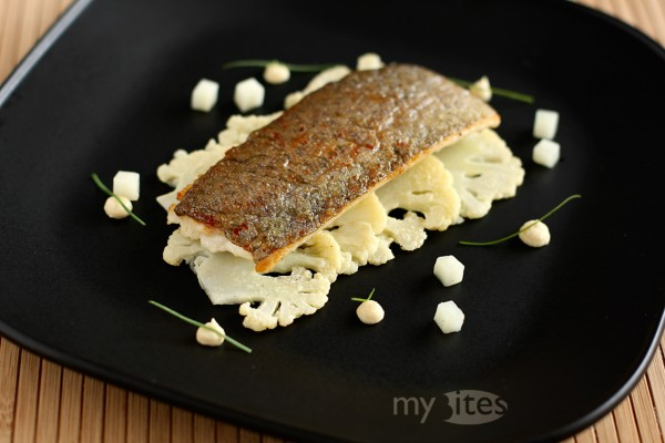 Trout with Cauliflower and White Poppy Seed and Lemon Puree