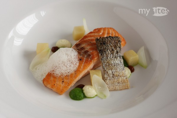 Salmon and Kohlrabi