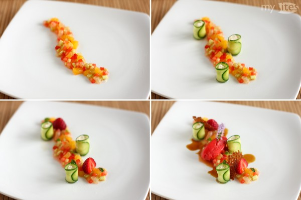 Plating of the Pimm's & Lemonade Dessert