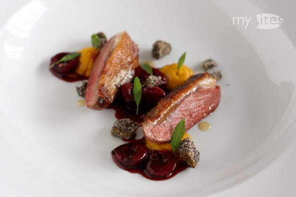 Pigeon Breast with Sour Cherry Sauce, Poppy Seed Crumbs and Sweet Potato Puree