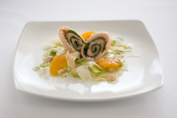 Basil-Trout Roll with Orange-Fennel-Asparagus Salad