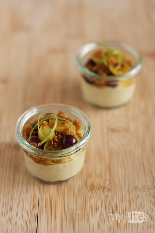 Celery Cream with Caramelized Grapes and Crispy Quinoa