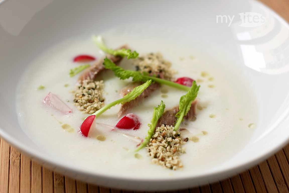 Smoked Herring with Buttermilk & Turnip Soup, Radish, Poppy Seed Oil and Hemp Seeds