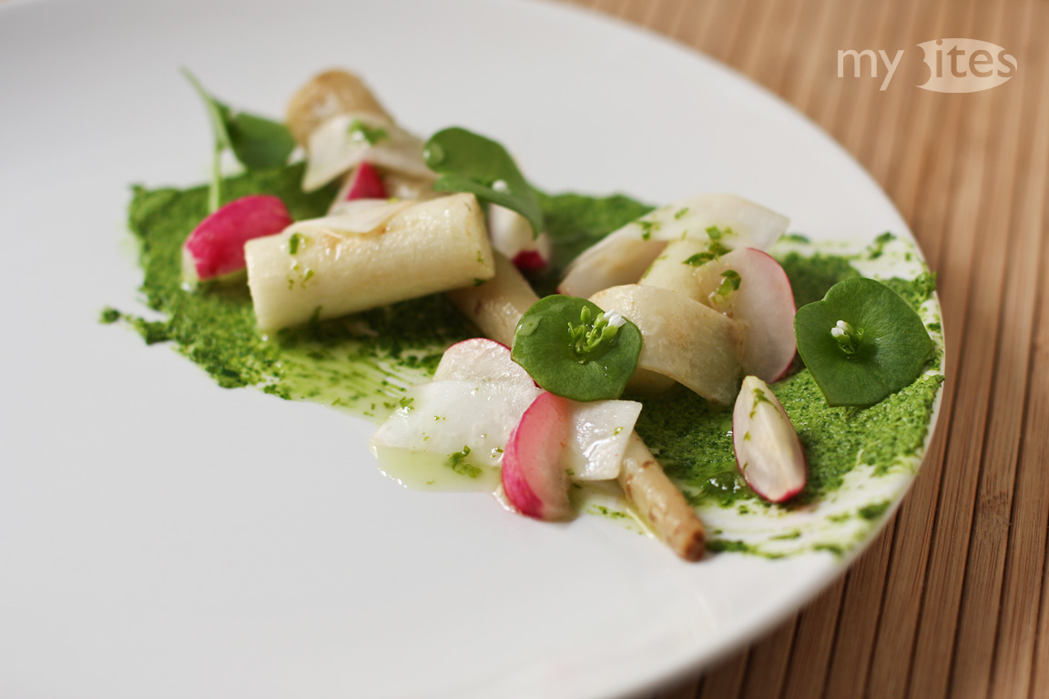 Oyster Plant Root with Radish, Turnip and Ramson Vinaigrette